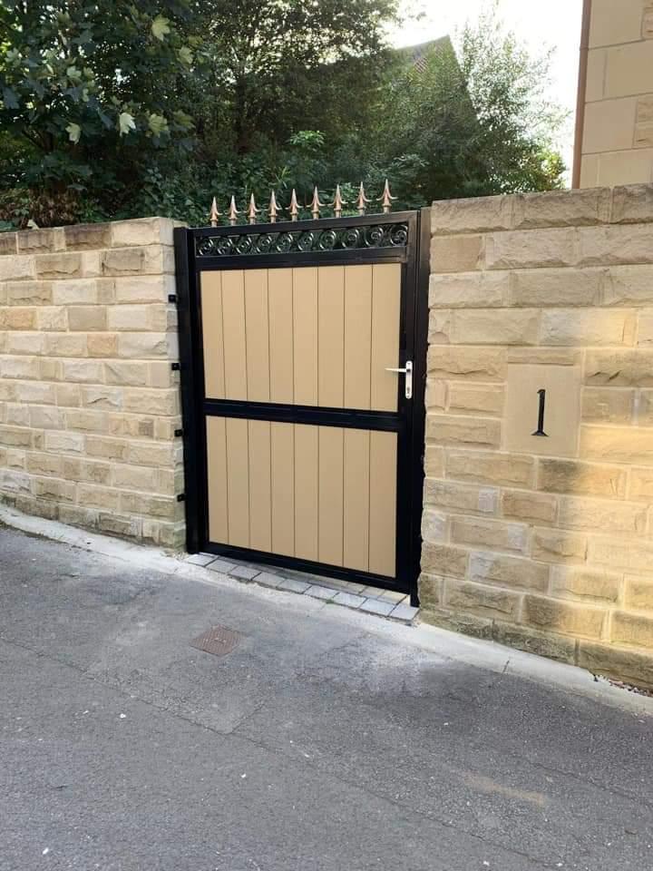 Caramel Composite Cladded Single Pedestrian Gate